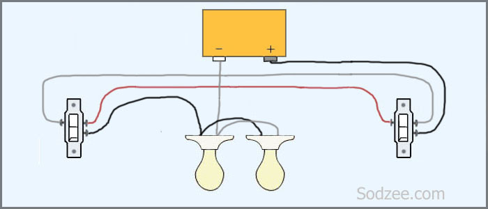3 way switch 2 lights staircase wiring circuit diagram electrical technolgy wire 2 way switch diagram at soozxer.org