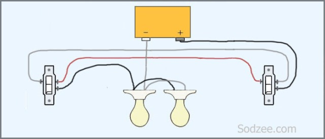 3-Way Switch with 2 Lights Between