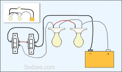 simple home electrical wiring diagrams sodzee com Wiring Can Lights in Parallel 3 way switch with two lights
