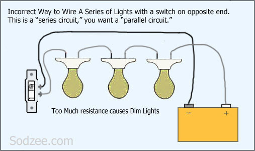 simple home electrical wiring diagrams sodzee com Electrical Wiring in Series Battery wiring a series circuit of lights (bad)