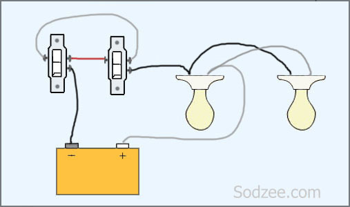Simple home electrical wiring diagrams sodzee three way switch with two lights asfbconference2016 Choice Image